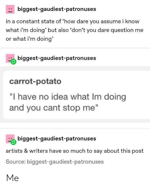 """Potato, How, and Idea: biggest-gaudiest-patronuses  in a constant state of 'how dare you assume i know  what i'm doing' but also 'don't you dare question me  or what i'm doing'  biggest-gaudiest-patronuses  carrot-potato  """"I have no idea what Im doing  and you cant stop me""""  biggest-gaudiest-patronuses  artists & writers have so much to say about this post  Source: biggest-gaudiest-patronuses Me"""
