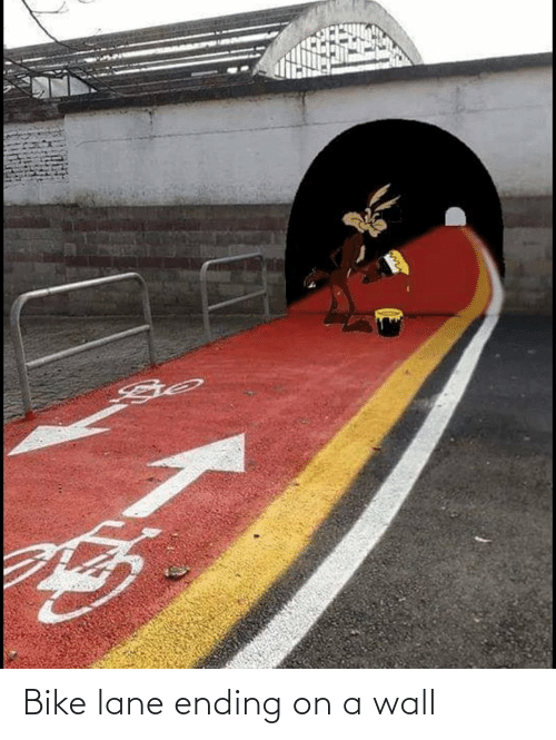 Ending: Bike lane ending on a wall