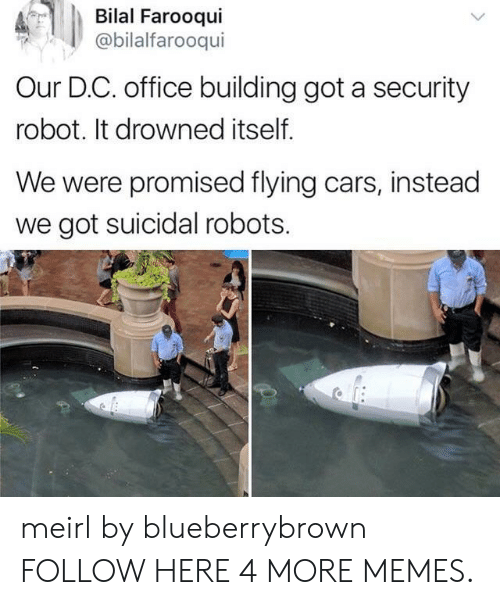 bilal: Bilal Farooqui  @bilalfarooqui  Our D.C. office building got a security  robot. It drowned itself.  We were promised flying cars, instead  we got suicidal robots. meirl by blueberrybrown FOLLOW HERE 4 MORE MEMES.
