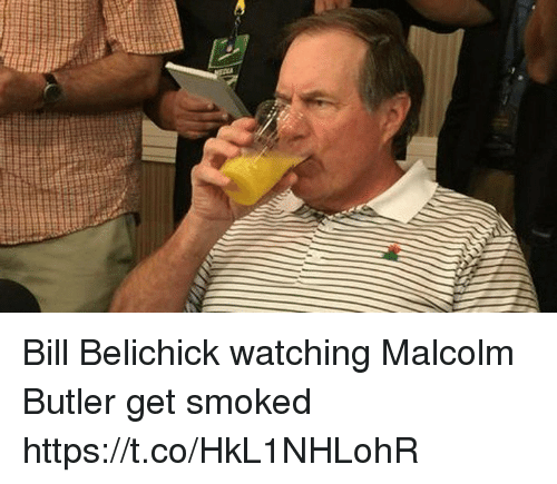 Bill Belichick, Tom Brady, and Belichick: Bill Belichick watching Malcolm Butler get smoked https://t.co/HkL1NHLohR