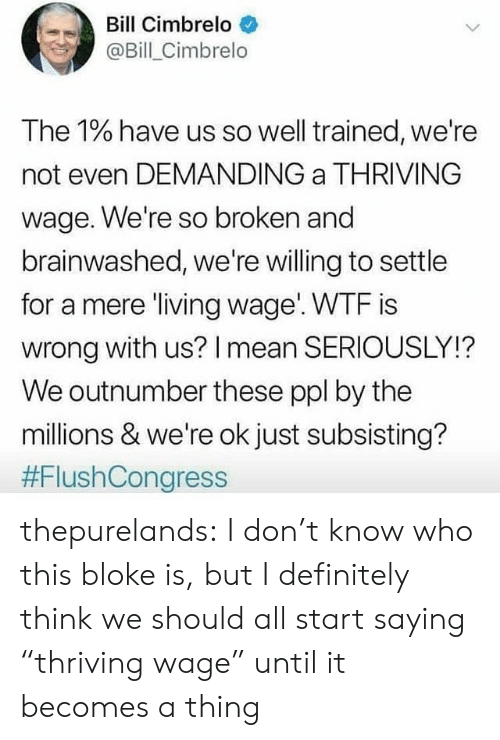 "Definitely, Tumblr, and Wtf: Bill Cimbrelo  @Bill_Cimbrelo  The 1% have us so well trained, we're  not even DEMANDING a THRIVING  wage. We're so broken and  brainwashed, we're willing to settle  for a mere living wage WTF is  wrong with us? I mean SERIOUSLY!?  We outnumber these ppl by the  millions & we're ok just subsisting?  thepurelands: I don't know who this bloke is, but I definitely think we should all start saying ""thriving wage"" until it becomes a thing"