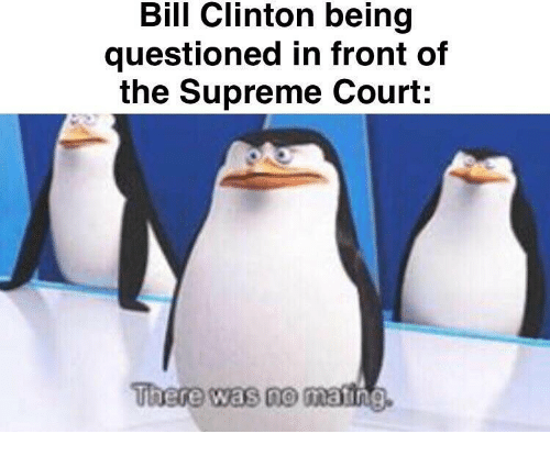 Bill Clinton, Supreme, and Supreme Court: Bill Clinton being  questioned in front of  the Supreme Court:  There was no mating