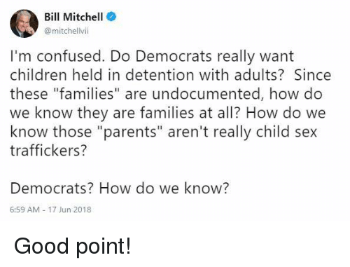 "Children, Confused, and Memes: Bill Mitchell  @mitchellvii  I'm confused. Do Democrats really want  children held in detention with adults? Since  these ""families"" are undocumented, how do  we know they are families at all? How do we  know those ""parents"" aren't really child sex  traffickers?  Democrats? How do we know?  6:59 AM-17 Jun 2018 Good point!"