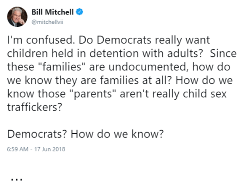 "Children, Confused, and Memes: Bill Mitchell  @mitchelvii  I'm confused. Do Democrats really want  children held in detention with adults? Since  these ""families"" are undocumented, how do  we know they are families at all? How do we  know those ""parents"" aren't really child sex  traffickers?  Democrats? How do we know?  6:59 AM-17 Jun 2018 ..."