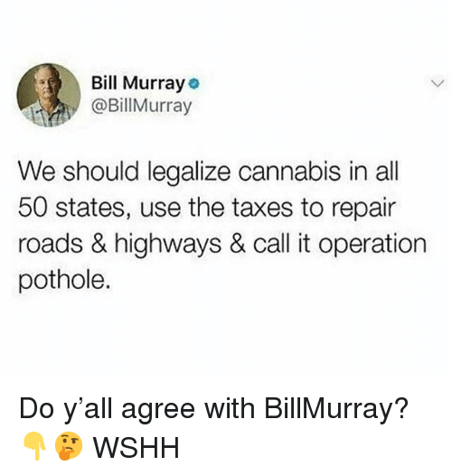 Memes, Wshh, and Taxes: Bill Murray  @BillMurray  We should legalize cannabis in all  50 states, use the taxes to repair  roads & highways & call it operation  pothole. Do y'all agree with BillMurray? 👇🤔 WSHH