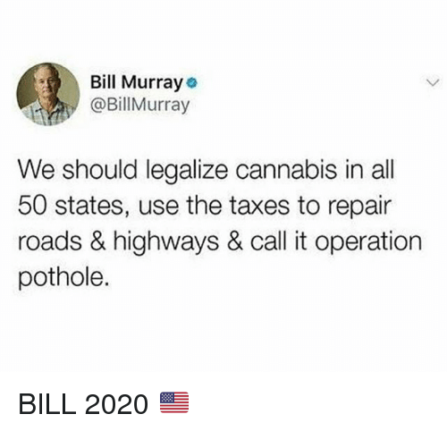 Funny, Taxes, and Bill Murray: Bill Murray  @BillMurray  We should legalize cannabis in all  50 states, use the taxes to repair  roads & highways & call it operation  pothole. BILL 2020 🇺🇸