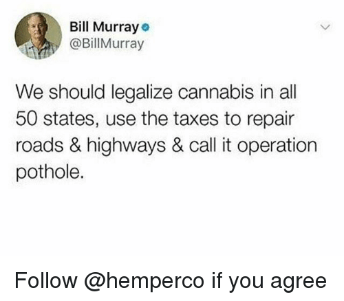 Taxes, Bill Murray, and Cannabis: Bill Murray  @BillMurray  We should legalize cannabis in all  50 states, use the taxes to repair  roads & highways & call it operation  pothole. Follow @hemperco if you agree