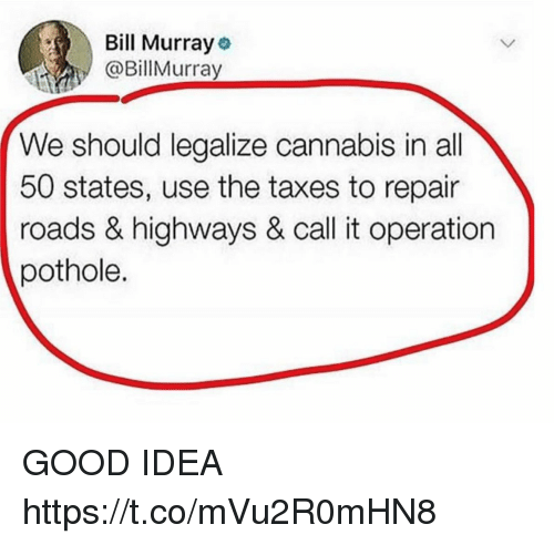 Funny, Taxes, and Bill Murray: Bill Murray  @BillMurray  We should legalize cannabis in all  50 states, use the taxes to repair  roads & highways & call it operation  pothole. GOOD IDEA https://t.co/mVu2R0mHN8