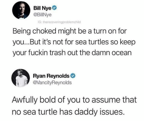 Bill Nye, Dank, and Trash: Bill Nye  @BillNye  IG: therecoveringproblemchild  Being choked might be a turn on for  you...But it's not for sea turtles so keep  your fuckin trash out the damn ocean  Ryan Reynolds  @VancityReynolds  Awfully bold of you to assume that  no sea turtle has daddy issues.