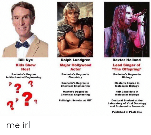 """Laboratory: Bill Nye  Kids Show  Host  Dolph Lundgren  Major Hollywood  Actor  Bachelor's Degree in  Chemistry  Bachelor's Degree in  Chemical Engineering  Master's Degree in  Dexter Holland  Lead Singer of  The Offspring""""  Bachelor's Degree  in Mechanical Engineering  Bachelor's Degree in  Biology  Master's Degree in  Molecular Biology  PhD Candidate in  Molecular Biology  Chemical Engineering  2  Fullbright Scholar at MIT  Doctoral Student at the  Laboratory of Viral Oncology  and Proteomics Research  Published in PLoS One me irl"""