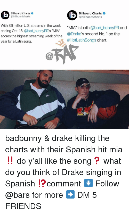 "Bad, Billboard, and Drake: Billboard Charts  @billboardcharts  Billboard Charts  @billboardcharts  LU  With 36 million U.S. streams in the week  ending Oct. 18, @bad_bunnyPR's ""MIA""  scores the highest streaming week of the  year for a Latin song.  _bunnyPR and  @Drake's second No.1 on the  #HotLatinsongs chart badbunny & drake killing the charts with their Spanish hit mia ‼️ do y'all like the song❓ what do you think of Drake singing in Spanish ⁉️comment ⬇️ Follow @bars for more ➡️ DM 5 FRIENDS"