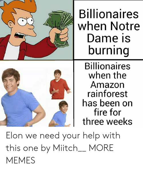 Notre Dame: Billionaires  when Notre  Dame is  burning  Billionaires  when the  Amazon  rainforest  has been on  fire for  three weeks Elon we need your help with this one by Miitch__ MORE MEMES