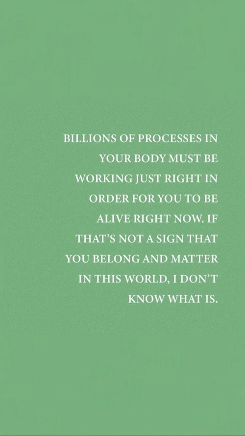 Billions: BILLIONS OF PROCESSES IN  YOUR BODY MUST BE  WORKING JUST RIGHT IN  ORDER FOR YOU TO BE  ALIVE RIGHT NOW. IF  THAT'S NOT A SIGN THAT  YOU BELONG AND MATTER  IN THIS WORLD, I DON'T  KNOW WHAT IS.