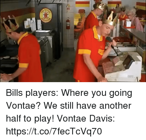 Football, Nfl, and Sports: Bills players: Where you going Vontae? We still have another half to play!  Vontae Davis: https://t.co/7fecTcVq70