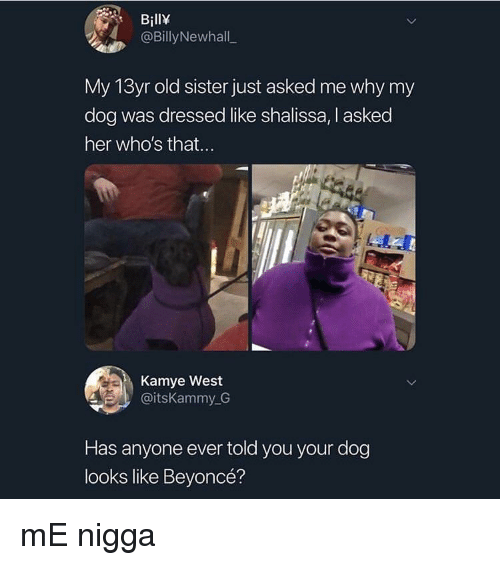 Beyonce, Old, and Her: BillY  @BillyNewhall  My 13yr old sister just asked me why my  dog was dressed like shalissa, I asked  her who's that...  Kamye West  @itsKammy G  Has anyone ever told you your dog  looks like Beyoncé? mE nigga