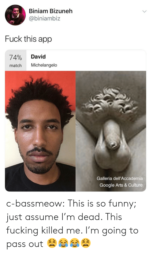 Fucking, Funny, and Google: Biniam Bizuneh  @biniambiz  Fuck this app  74% David  match Michelangelo  Galleria dell'Accademia  Google Arts & Culture c-bassmeow:  This is so funny; just assume I'm dead. This fucking killed me. I'm going to pass out 😫😂😂😫