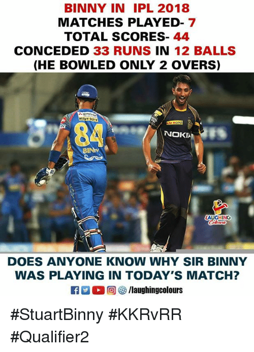 Match, Indianpeoplefacebook, and Anyone Know: BINNY IN IPL 2018  MATCHES PLAYED- 7  TOTAL SCORES-44  CONCEDED 33 RUNS IN 12 BALLS  (HE BOWLED ONLY 2 OVERS  HEAY DUTY  NOKI  GHING  DOES ANYONE KNOW WHY SIR BINNY  WAS PLAYING IN TODAY'S MATCH? #StuartBinny #KKRvRR #Qualifier2