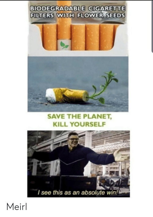 kill yourself: BIODEGRADABLE CIGARETTE  FILTERS WITH FLOWER SEEDS  SAVE THE PLANET,  KILL YOURSELF  I see this as an absolute win! Meirl