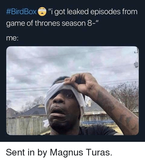"""Game of Thrones, Game, and Got:  #Bird Box """"i got leaked episodes from  game of thrones season 8-""""  me: Sent in by Magnus Turas."""