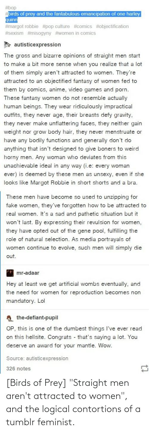 "Conservative Memes: [Birds of Prey] ""Straight men aren't attracted to women"", and the logical contortions of a tumblr feminist."
