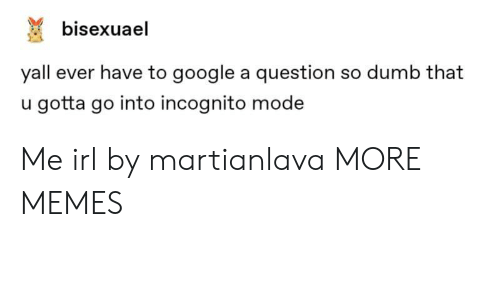 Incognito Mode: bisexuael  yall ever have to google a question so dumb that  u gotta go into incognito mode Me irl by martianlava MORE MEMES