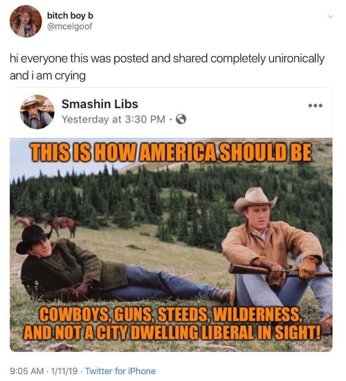 liberal: bitch boy b  @mcelgoof  hi everyone this was posted and shared completely unironically  and i am crying  Smashin Libs  Yesterday at 3:30 PM  THISIS HOW AMERICASHOULD BE  COWBOYS,GUNS,STEEDS, WILDERNESS  AND NOT ACITY DWELLING LIBERAL IN SIGHT!  afin cem  9:05 AM 1/11/19 Twitter for iPhone