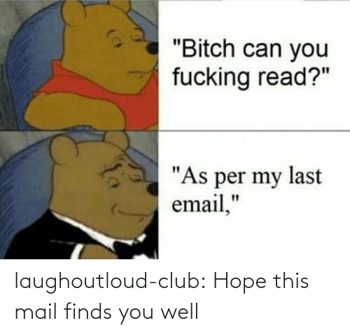 "Email: ""Bitch can you  fucking read?""  ""As per my last  email,"" laughoutloud-club:  Hope this mail finds you well"