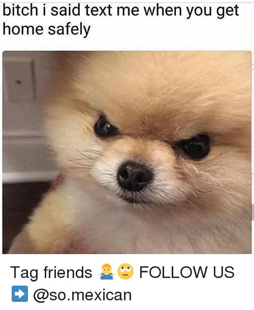 Bitch, Friends, and Memes: bitch i said text me when you get  home safely Tag friends 🤷♂️🙄 FOLLOW US➡️ @so.mexican