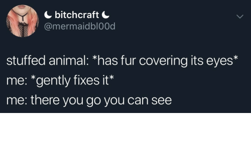 "Animal, Can, and Fur: bitchcraft  @mermaidbl0Od  stuffed animal: *has fur covering its eyes*  me: ""gently fixes it*  me: there you go you can see"