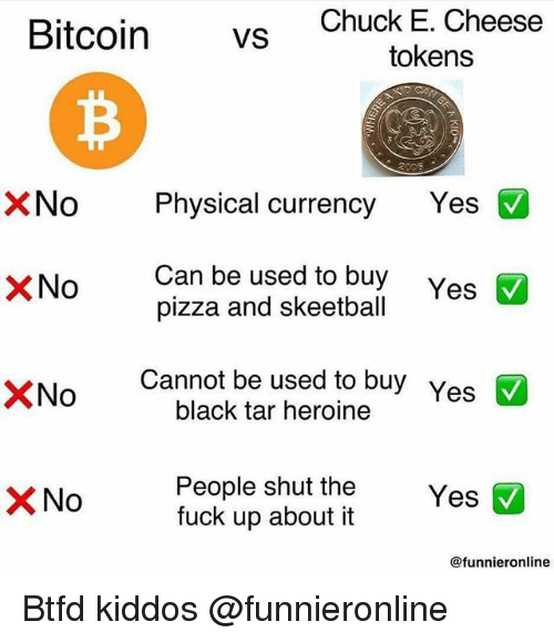 Chuck E Cheese, Pizza, and Black: Bitcoin vs  Chuck E. Cheese  tokens  No Physical currency Yes  Can be used to buy  pizza and skeetball  XNo  Yes  ×No  Cannot be used to buy  black tar heroine  Yes  People shut the  fuck up about it  @funnieronline Btfd kiddos @funnieronline