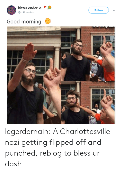 Tumblr, Good Morning, and Blog: bitter ender  @roflmaoism  Follow  Good morning. legerdemain:  A Charlottesville nazi getting flipped off and punched, reblog to bless ur dash