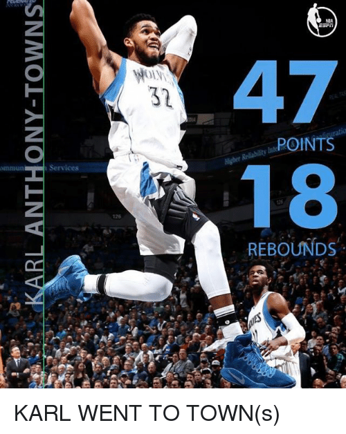 Ðÿ˜…: BL-ANTHONY-TOWNS  李  Dy  se  NBA  Ol.V\  ,POINTS  Nnmun  Services  REBOUNDS KARL WENT TO TOWN(s)