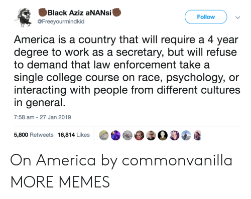 law enforcement: Black Aziz aNANsi  @Freeyourmindkid  Follow  America is a country that will require a 4 year  degree to work as a secretary, but will refuse  to demand that law enforcement take a  single college course on race, psychology, or  interacting with people from different cultures  in general  7:58 am -27 Jan 2019  5,800 Retweets 16,814 Likes00 On America by commonvanilla MORE MEMES