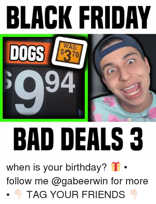 Bad, Birthday, and Black Friday: BLACK FRIDAY  DOGS  WAS:  BAD DEALS 3 when is your birthday? 🎁 • follow me @gabeerwin for more • 👇🏻 TAG YOUR FRIENDS 👇🏻