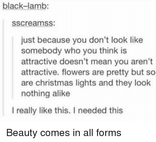christmas lights: black-lamb:  sscreamss:  just because you don't look like  somebody who you think is  attractive doesn't mean you aren't  attractive. flowers are pretty but so  are christmas lights and they look  nothing alike  l really like this. I needed this Beauty comes in all forms