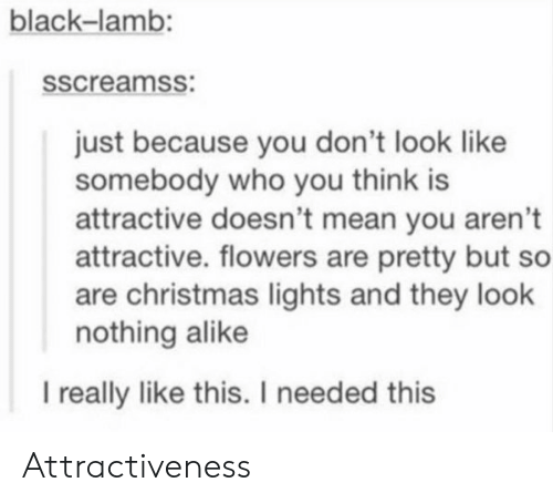 Attractiveness: black-lamb  sscreamss:  just because you don't look like  somebody who you think is  attractive doesn't mean you aren't  attractive. flowers are pretty but so  are christmas lights and they look  nothing alike  l really like this. I needed this Attractiveness