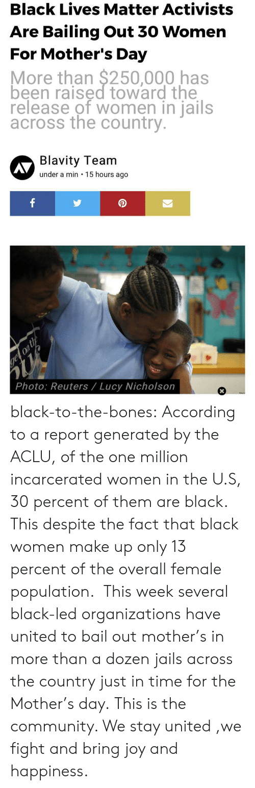 Bailed Out: Black Lives Matter Activists  Are Bailing Out 30 Womern  For Mother's Day  More than $250,000 has  been raised toward the  release of women in jails  across the country  Blavity Team  under a min 15 hours ago  AV  0  Photo: Reuters/ Lucy Nicholson black-to-the-bones:    According to a report generated by the ACLU, of the one million incarcerated women in the U.S, 30 percent of them are black.  This despite the fact that black women make up only 13 percent of the overall female population.  This week several black-led organizations have united to bail out mother's in more than a dozen jails across the country just in time for the Mother's day.   This is the community. We stay united ,we fight and bring joy and happiness.