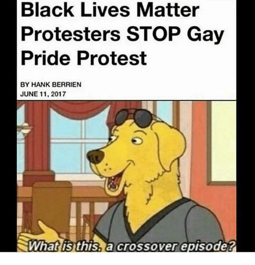 Black Lives Matter, Memes, and Protest: Black Lives Matter  Protesters STOP Gay  Pride Protest  BY HANK BERRIEN  JUNE 11, 2017  What is this a crossover episode  2