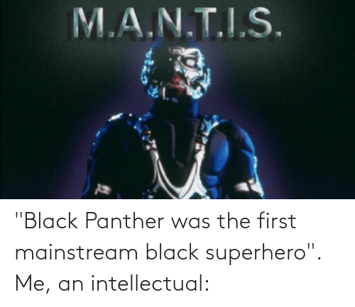 """An Intellectual: """"Black Panther was the first mainstream black superhero"""". Me, an intellectual:"""