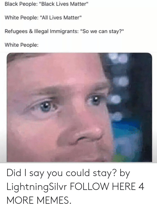 "Illegal Immigrants: Black People: ""Black Lives Matter""  White People: ""All Lives Matter""  Refugees & Illegal Immigrants: ""So we can stay?""  White People:  ?11 Did I say you could stay? by LightningSilvr FOLLOW HERE 4 MORE MEMES."