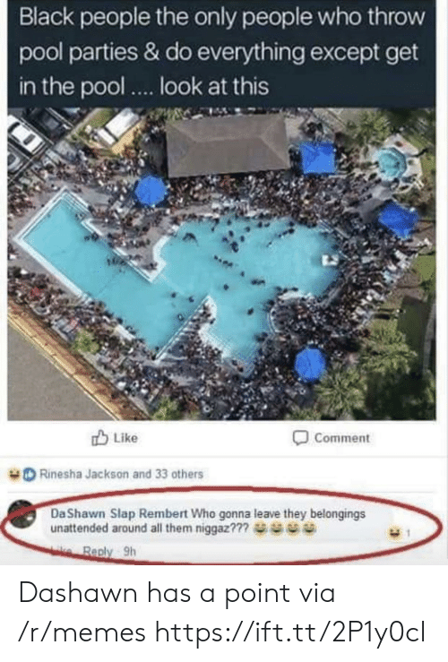 Memes, Black, and Pool: Black people the only people who throw  pool parties & do everything except get  in the pool.. look at this  u Like  Comment  Rinesha Jackson and 33 others  DaShawn Slap Rembert Who gonna leave they belongings  unattended around all them niggaz??  Reply Sh Dashawn has a point via /r/memes https://ift.tt/2P1y0cI