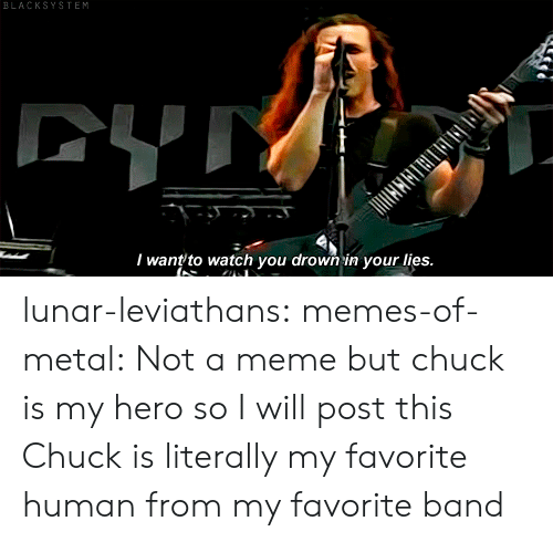 Favorite Band: BLACKSYSTEM  CYTY  I want to watch you drown in your lies. lunar-leviathans:  memes-of-metal: Not a meme but chuck is my hero so I will post this  Chuck is literally my favorite human from my favorite band
