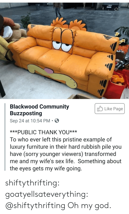 wifes: Blackwood Community  Buzzposting  Like Page  Sep 24 at 10:54 PM  ***PUBLIC THANK YOU***  To who ever left this pristine example of  luxury furniture in their hard rubbish pile you  have (sorry younger viewers) transformed  me and my wife's sex life. Something about  the eyes gets my wife going. shiftythrifting: goatyellsateverything: @shiftythrifting  Oh my god.