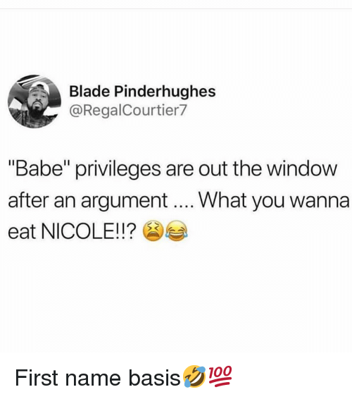 """Blade, Hood, and Name: Blade Pinderhughes  @RegalCourtier7  """"Babe"""" privileges are out the window  after an argument What you wanna  eat NICOLE!!? First name basis🤣💯"""