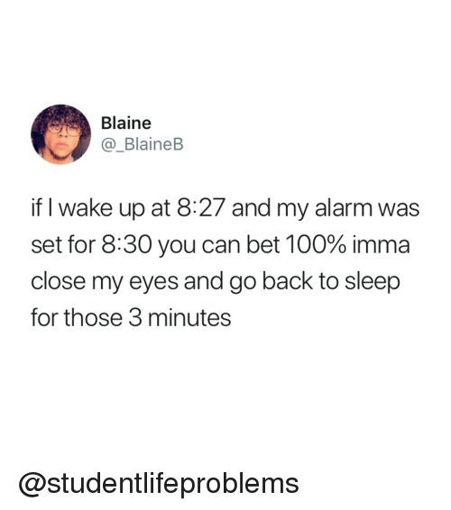 go back to sleep: Blaine  @_BlaineB  if I wake up at 8:27 and my alarm was  set for 8:30 you can bet 100% imma  close my eyes and go back to sleep  for those 3 minutes @studentlifeproblems