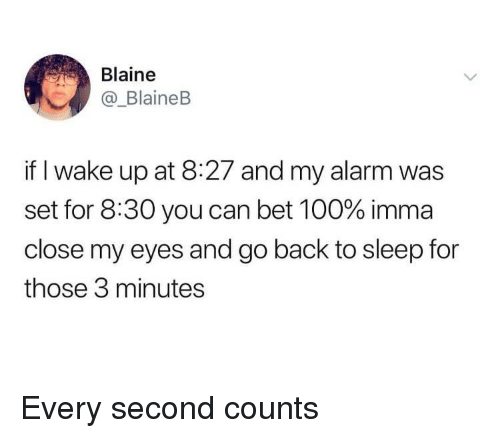 go back to sleep: Blaine  _BlaineB  if I wake up at 8:27 and my alarm was  set for 8:30 you can bet 100% imma  close my eyes and go back to sleep for  those 3 minutes Every second counts