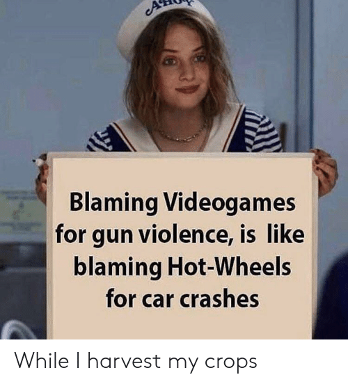 videogames: Blaming Videogames  for gun violence, is like  blaming Hot-Wheels  for car crashes While I harvest my crops