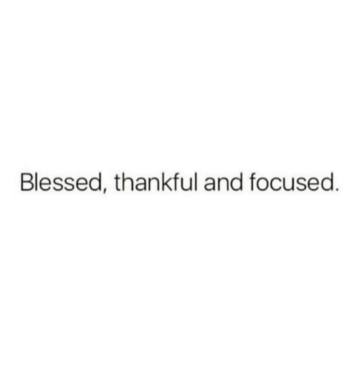 Blessed, Thankful, and Focused: Blessed, thankful and focused