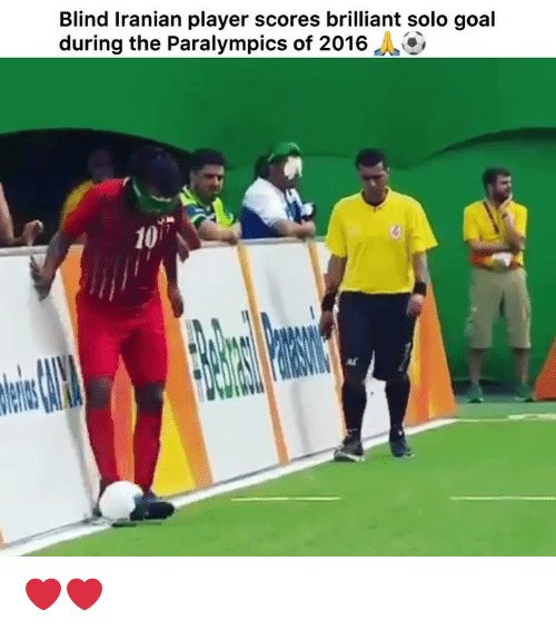 Iranian: Blind Iranian player scores brilliant solo goal  during the Paralympics of 2016  10 ❤️❤️