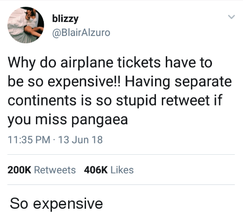 Airplane, Continents, and Why: blizzy  @BlairAlzuro  Why do airplane tickets have to  be so expensive!! Having separate  continents is so stupid retweet if  you miss pangaea  11:35 PM-13 Jun 18  200K Retweets 406K Likes So expensive